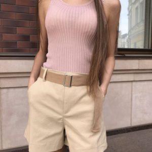 Приобрести дешево шорты женские с поясом в комплекте в стиле сафари бежевого цвета оптом Украина