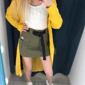 Заказать недорого женскую юбку с накладными карманами и поясом зеленого цвета в подарок