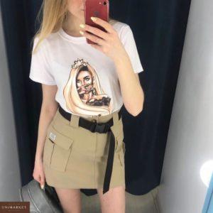 Купить в интернет-магазине юбку женскую с поясом и карманами накладными бежевого цвета недорого