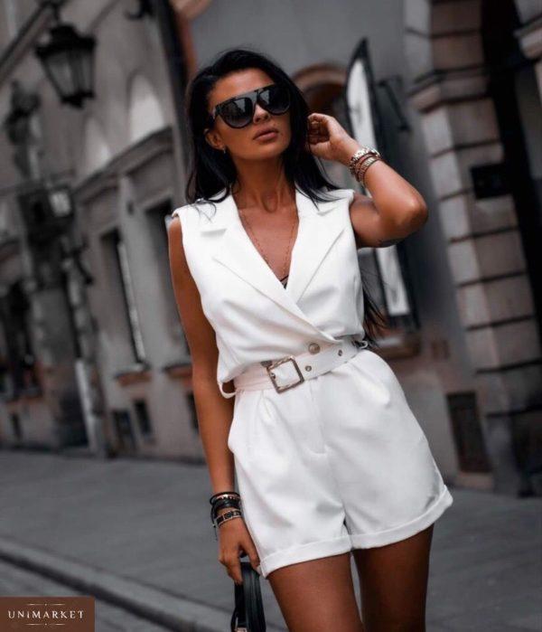 Заказать недорого женский стильный комбинезон - шорты с поясом из коттона белого цвета больших размеров в подарок
