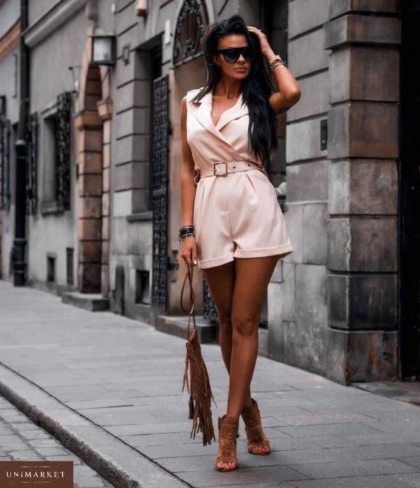 Приобрести дешево стильный женский комбинезон из коттона - с поясом шорты цвета пудры больших размеров оптом