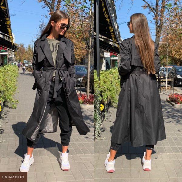 Заказать в подарок женский двубортный тренчкот с поясом на подкладке черного цвета оптом Украина