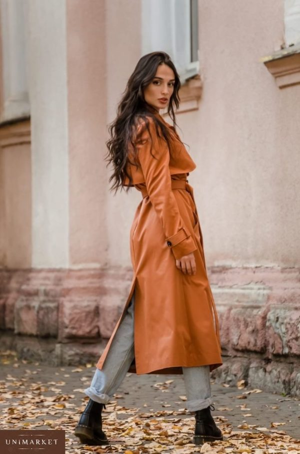 Приобрести недорого женский двубортный тренчкот на подкладке с поясом горчичного цвета оптом Украина