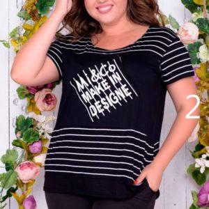 Приобрести дешево футболку женскую с принтом из вискозы турецкой размера большого оптом Украина