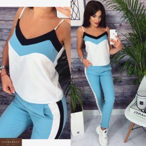 Купить дешево женский костюм прогулочный батал на лето голубой+белый больших размеров недорого