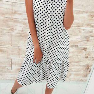 Купить дешево женское платье в горошек батал с жемчужинами горошек на белом фоне больших размеров недорого