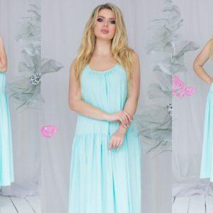 Заказать оптом женское платье с заниженной талией аквамаринового цвета с открытой спиной свободного кроя большого размера дешево
