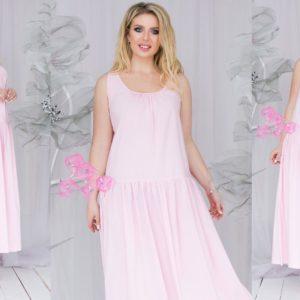 Купить в интернет-магазине женское розовое платье большого размера свободного кроя с открытой спиной с заниженной талией недорого