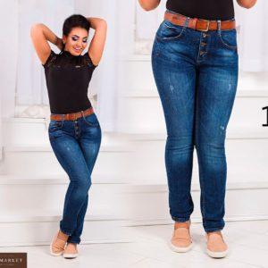 Купить дешево женские джинсы стрейч классические под ремень на бедрах больших размеров недорого