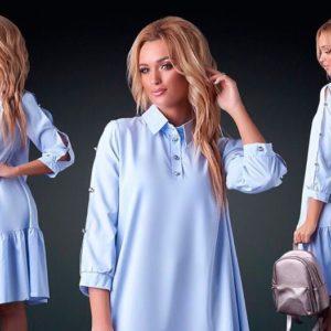 Купить в интернет-магазине платье женское миди супер батал софт голубого цвета больших размеров дешево