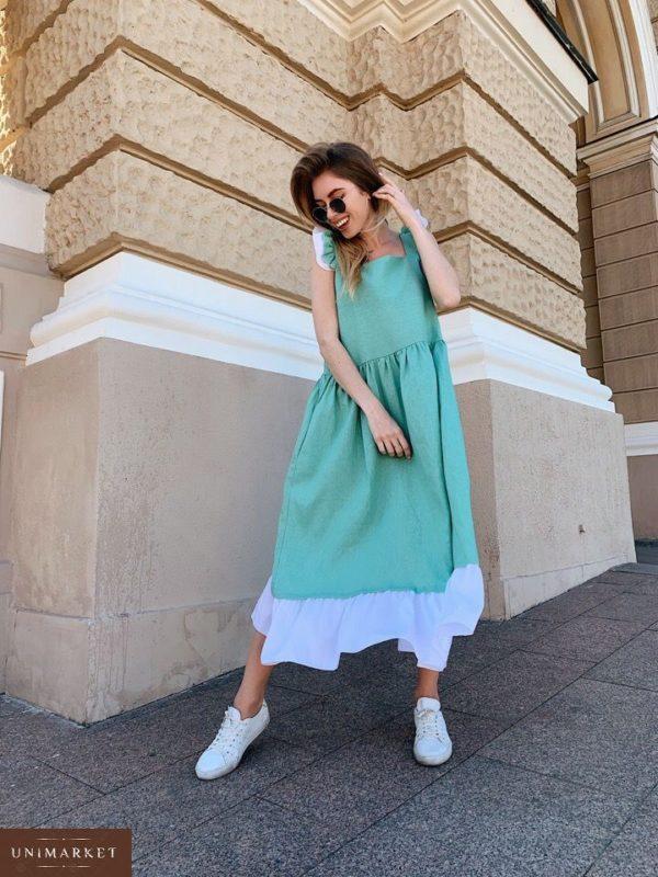 Приобрести дешево женское миди платье из льна с крылышками фисташкового цвета и поясом в комплекте оптом Украина