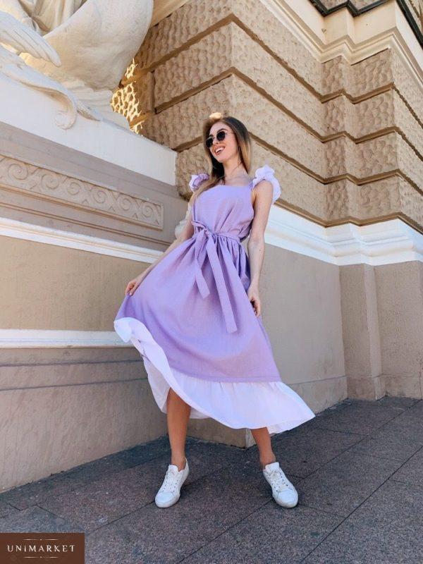 Заказать недорого женское платье миди из льна с крылышками и поясом в комплекте лавандового цвета в подарок