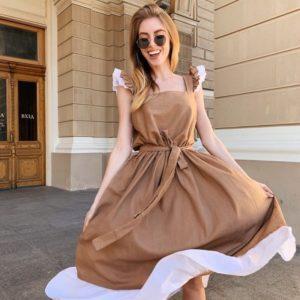 Заказать оптом платье женское миди из льна и поясом в комплекте с крылышками цвета капучино дешево