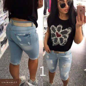Купить дешево женские джинсовые бриджи с поясом турецкие батал больших размеров недорого