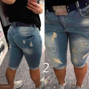 Приобрести в подарок женские бриджи джинсовые турецкие с поясом батал больших размеров оптом Украина