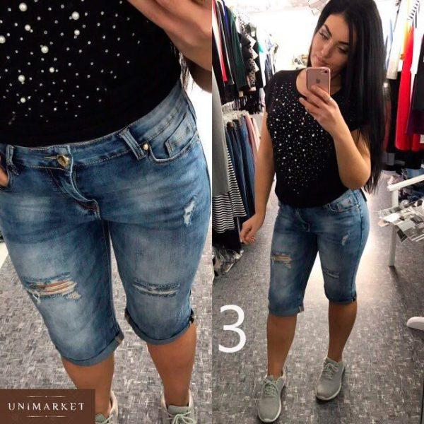 Заказать недорого джинсовые женские турецкие батал бриджи с поясом больших размеров в подарок