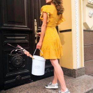Приобрести дешево платье женское в горох мелкий горчичного цвета из штапеля оптом Украина