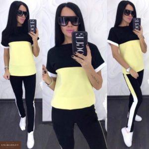 Купить дешево женский костюм летний для прогулок батал желтый+черный больших размеров недорого
