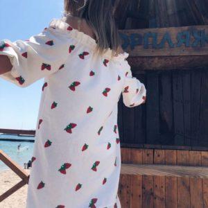 Приобрести дешево женское платье белое - из льна рубашка с открытыми плечами и вышивкой оптом Украина