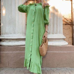 Приобрести в интернет-магазине длинное женское платье цвета зеленого из льна на пуговицах дешево