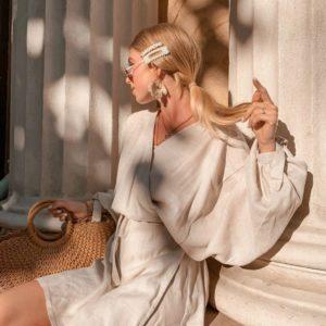 Купить дешево женское бежевое платье на запах из натурального льна недорого