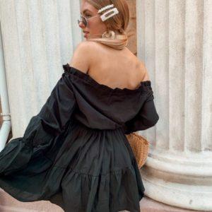 Приобрести дешево черное женское платье из хлопка с плечами открытыми оптом Украина
