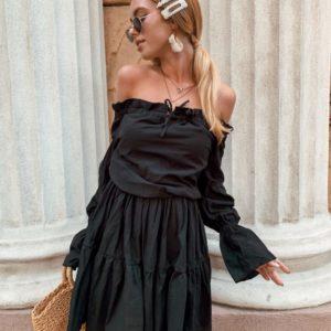 Заказать недорого женское черное платье с открытыми плечами из хлопка в подарок