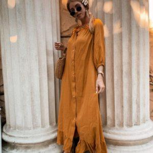 Приобрести недорого женское длинное платье из льна на пуговицах горчичного цвета дешево
