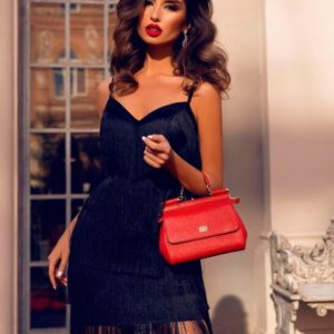 Заказать недорого женское вечернее платье с бахромой и поясом с кружевом черного цвета в подарок