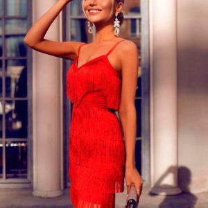 Приобрести дешево женское платье вечернее с кружевом с бахромой и поясом красного цвета оптом Украина