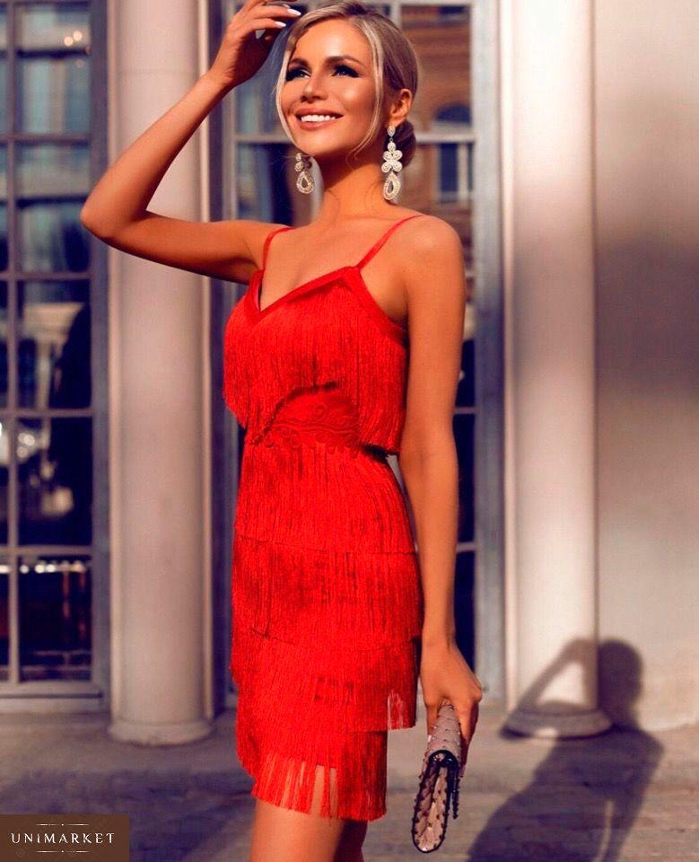 a0ffa9769d25b84 Приобрести дешево женское платье вечернее с кружевом с бахромой и поясом  красного цвета оптом Украина