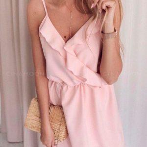 Приобрести дешево женское платье летнее на бретельках из супер софта с имитацией на запах розового цвета оптом Украина