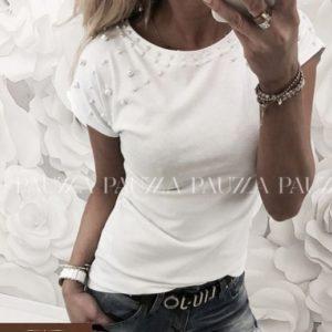 """Купить дешево женскую белую футболку - рукав """"японочка"""" бусинками орнамент большой размер недорого"""