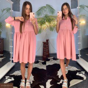 Приобрести в подарок женское платье кроя свободного розового цвета из креп-шёлка оптом Украина