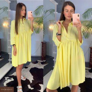 Купить дешево женское платье свободного кроя из креп-шёлка желтого цвета недорого