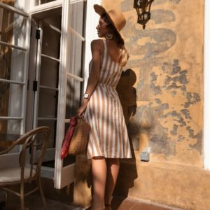 Приобрести дешево женское платье льняное на пуговицах в полоску оптом Украина