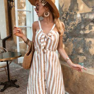 Заказать недорого женское льняное платье в полоску на пуговицах в подарок