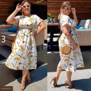Заказать недорого женское стильное платье миди летящего покроя большого размера в подарок