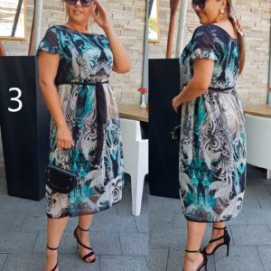 Купить в интернет-магазине женское элегантное из легкой шифоновой ткани платье-миди с лодочка вырезом больших размеров недорого