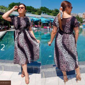 Приобрести дешево женское элегантное миди-платье из шифоновой легкой ткани с вырезом лодочка размеров больших оптом Украина