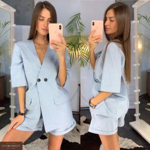 Приобрести в подарок женский костюм льняной на пуговицах с шортами голубого цвета оптом Украина