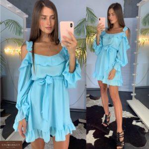 Заказать недорого женское платье с открытыми плечами из креп шифона с поясом голубого цвета в подарок