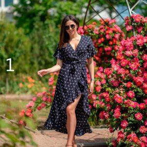 Заказать недорого женское платье-халат с запахом большого размера из софта в подарок