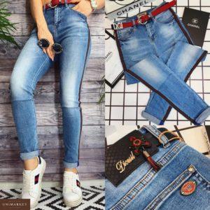 Купить дешево женские джинсы - стрейчевые бойфренды с ремнем больших размеров цвета джинс недорого