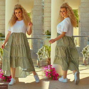 Приобрести в подарок женское платье льняное размера большого бело-оливкового цвета оптом Украина