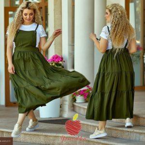 Приобрести в подарок женский юбка - широкая сарафан, сзади на резинке большой размер цвета хакки оптом Украина
