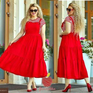 Купить в интернет-магазине женский красный сарафан - юбка широкая, большой размер сзади на резинке дешево