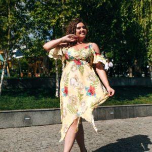 Приобрести в подарок женское сарафан-платье софт большого размера желтого цвета оптом Украина