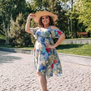 Заказать недорого женское софт платье-сарафан большого размера сиреневого цвета в подарок