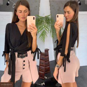 Купить в интернет-магазине женские шорты с пуговицами и высокой талией цвета пудры недорого